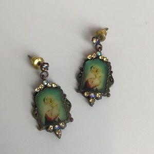 Virgin Mary with Baby Jesus Small Portrait Earring
